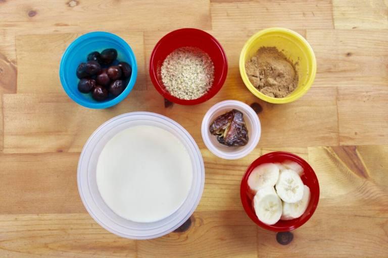measured ingredients for milkshake