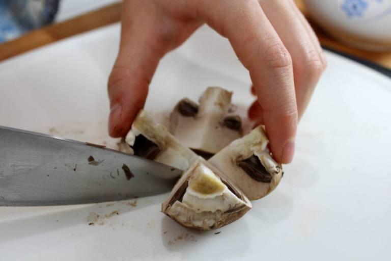 quartering portobello mushrooms