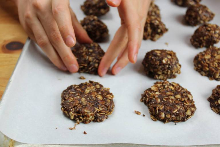 shaping plant based no bake cookies