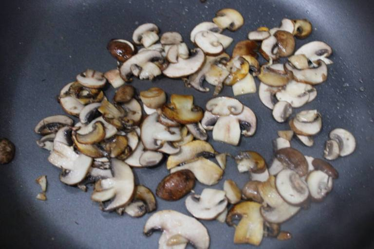 searing the mushrooms for the gravy