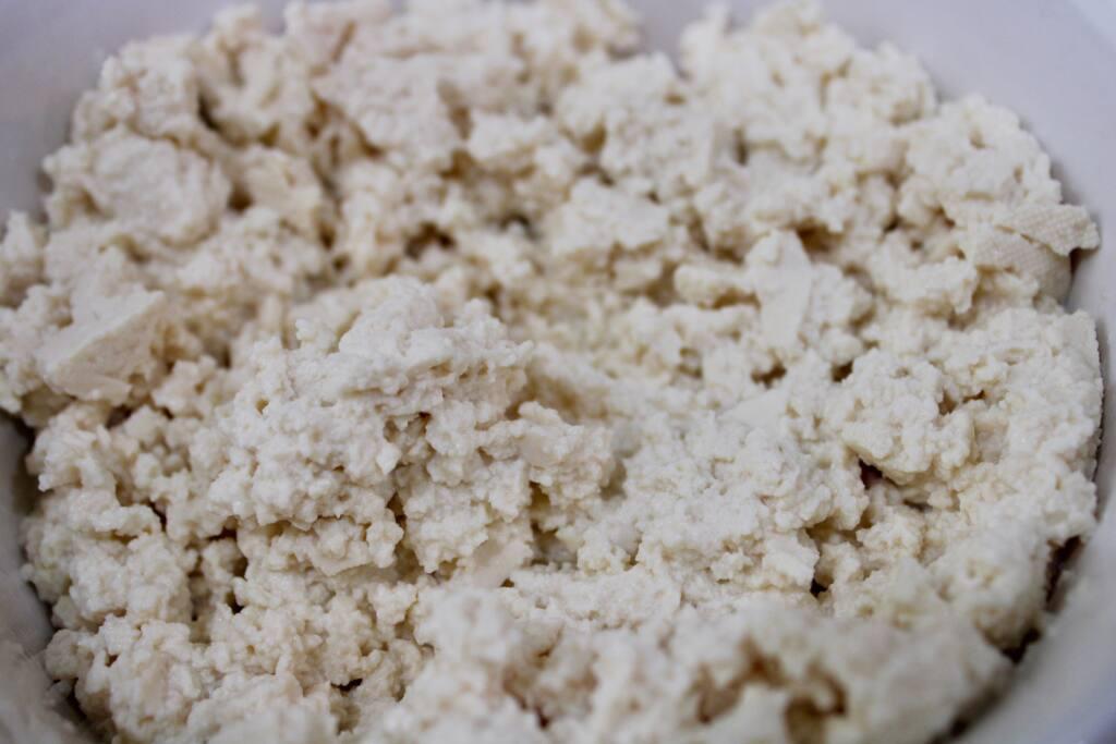 Crumbling tofu for the taco recipe