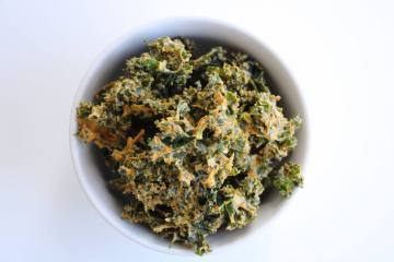 vegan nacho kale chips on white background