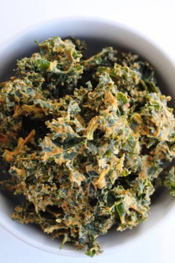 vegan nacho kale chips on white background