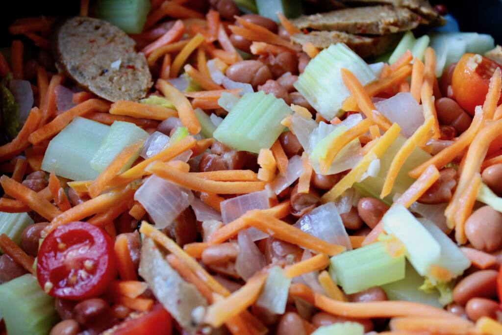 vegetables and vegan sausage