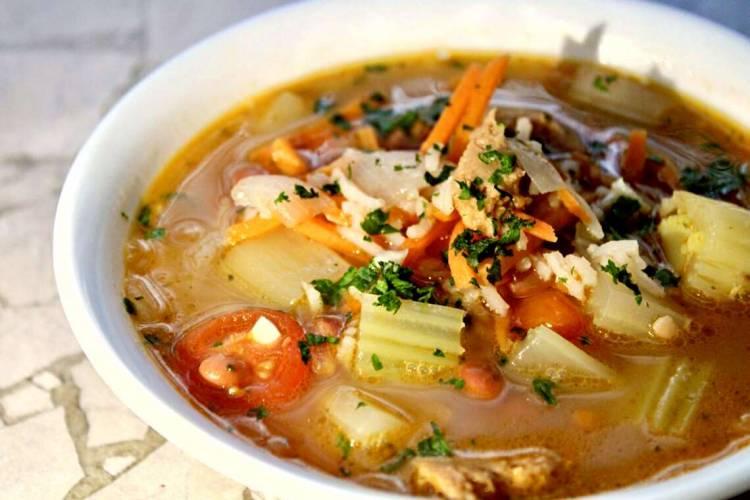 rice and vegan sausage soup