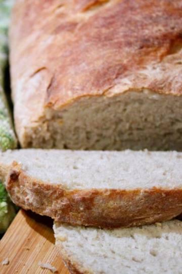 Slicing the sourdough bread