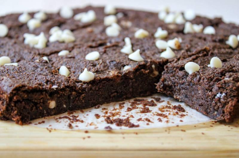 Vegan Black Bean Brownies with White Chocolate Chips