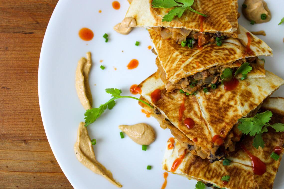 Buffalo Bean Quesadillas w/ Mexican Cheese Sauce