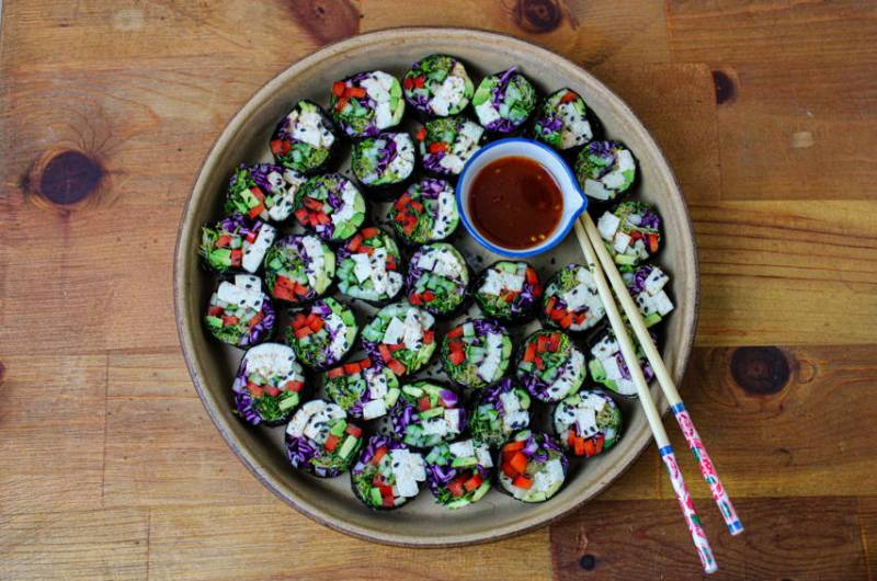Tofu Nori Rolls with Sweet Chili