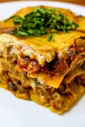 serving of vegan lasagna