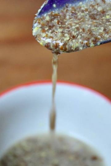 flax egg dripping from spoon