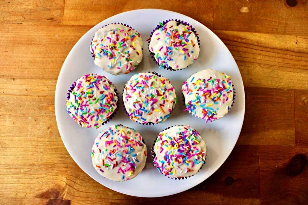 Vegan Chocolate Funfetti Cupcakes with almond frosting and vegan sprinkles