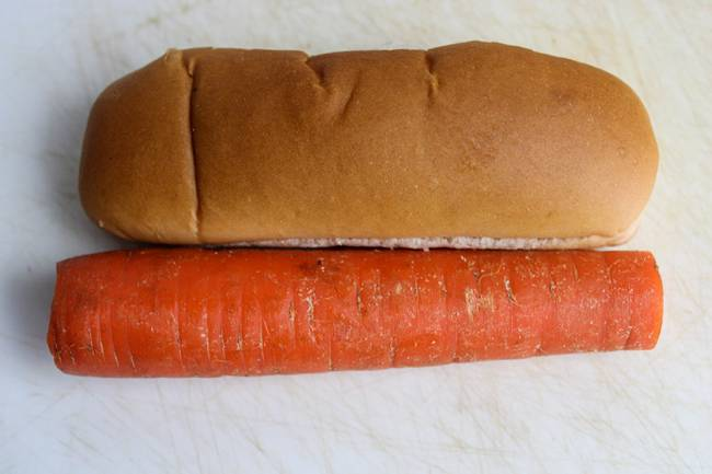 carrots cut to the length of the bun