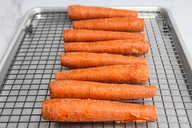 cooked carrots cooling