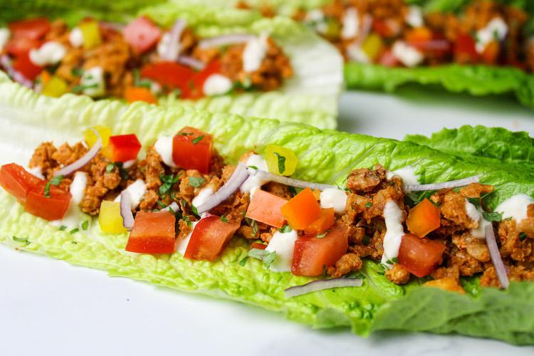 Raw tacos with walnut meat