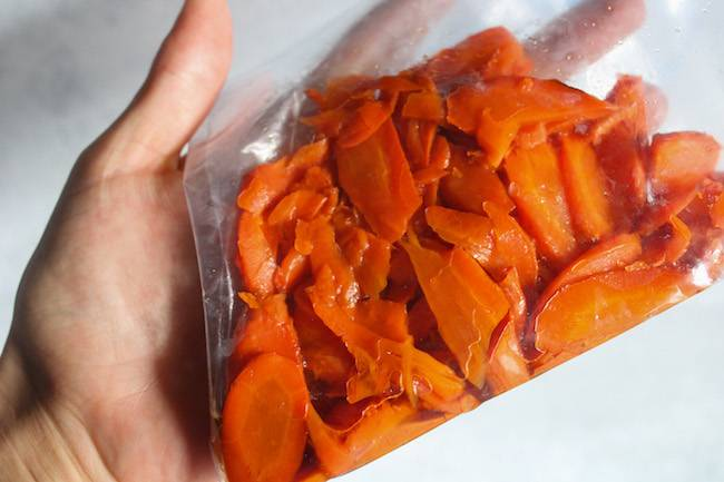 Carrot lox slices marinating