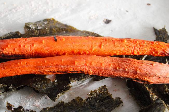 Cooked carrots without the nori