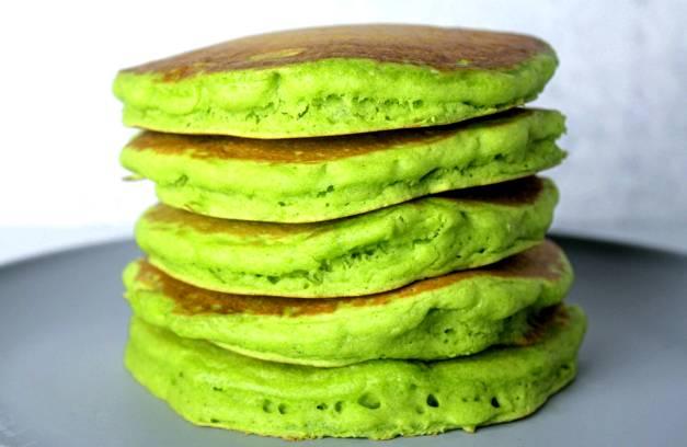 Vegan green pancakes stacked up