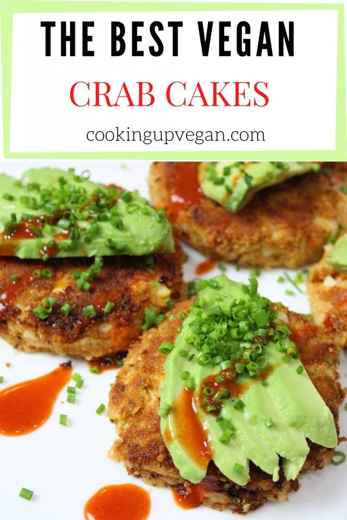 vegan crab cakes with avocado and hot sauce