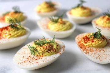 vegan deviled eggs with dill and smoked paprika