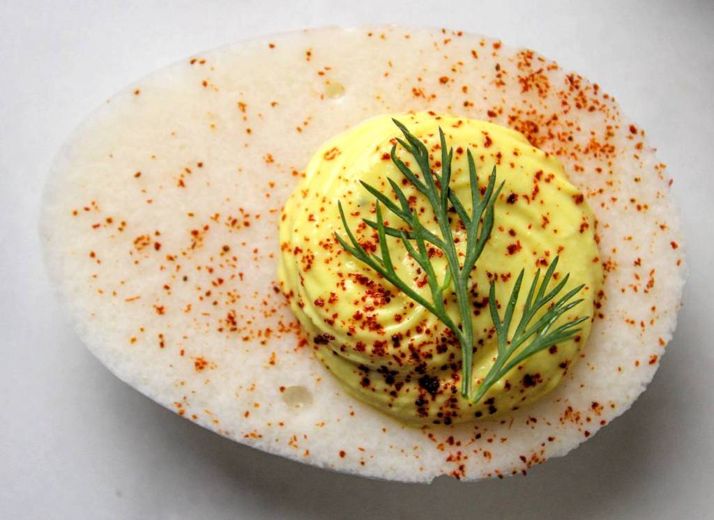 Vegan deviled eggs with dill