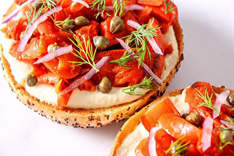 vegan lox bagels with carrots and cream cheese