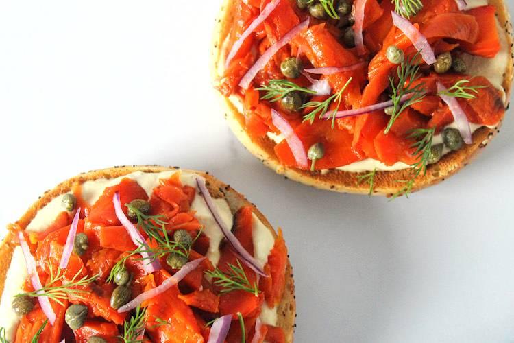 Carrot lox bagels