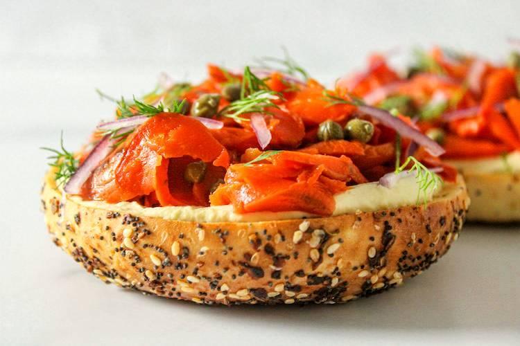 Vegan lox on a bagel