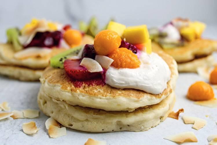 vegan pancakes fresh fruit toppings