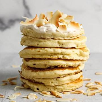 vegan pancakes toasted coconut flakes